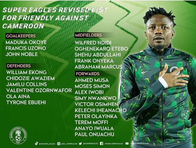 NFF Releases Super Eagles Squad List for Friendly Match Against Cameroon